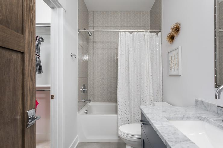 girl bathroom with gold sparkly shower