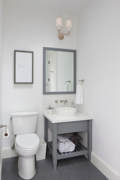 Small Gray Washstand with Gray Parsons Mirror