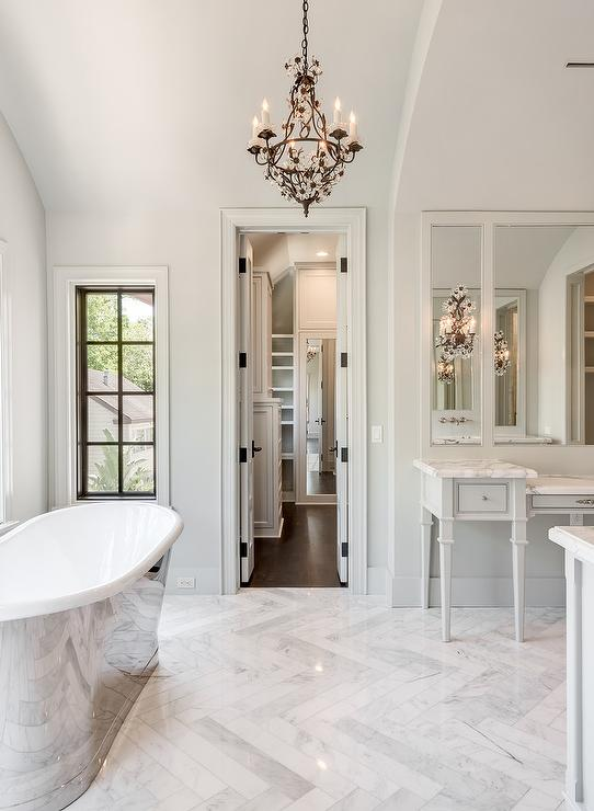 White And Gray French Style Bathroom With Marble Herringbone Tile Floor French Bathroom