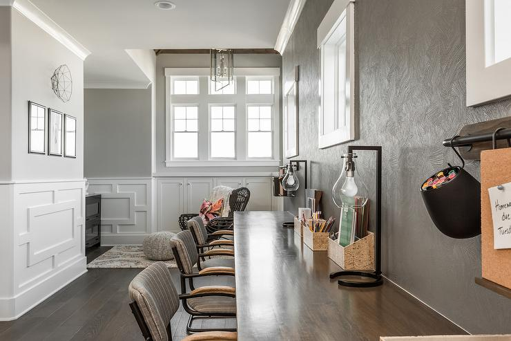 Long Wood Top Homework Desk with Gray Chairs