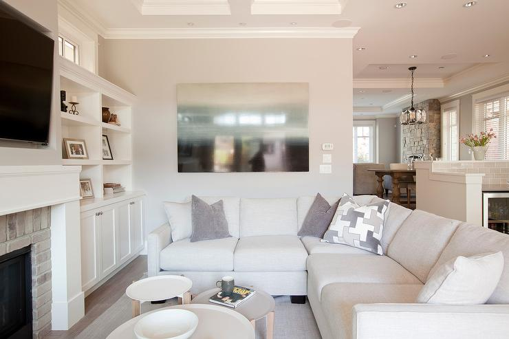 small living room ideas with brick fireplace paint finish for off white linen sectional sofa gray pillows ...