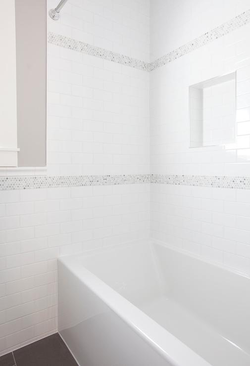 White Shower Tiles With Gray Mosaic Border Accent Tiles