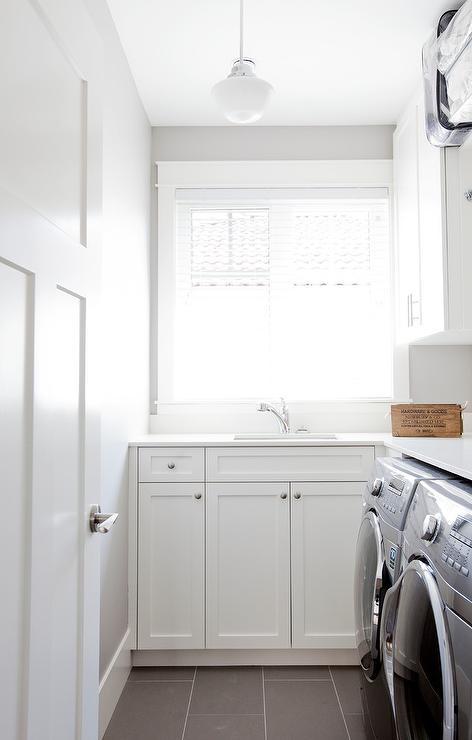 Galley Laundry Room  Transitional  laundry room  Crisp