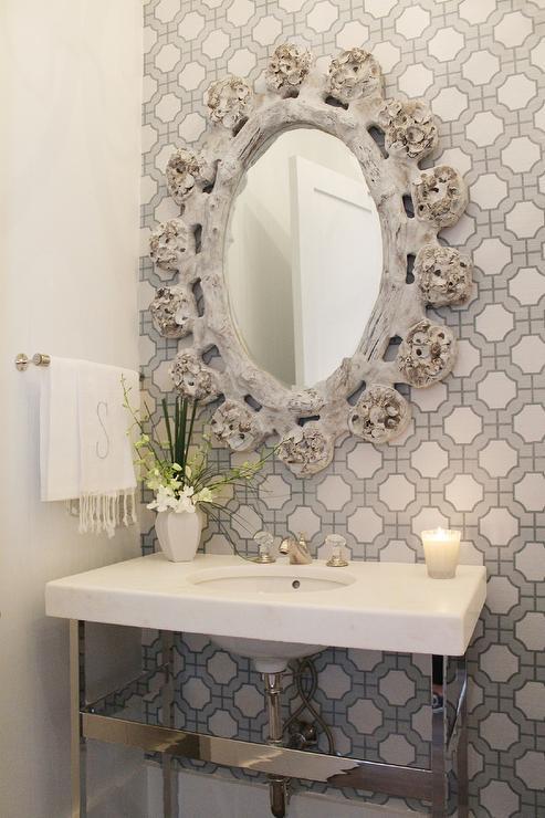 Powder Room wainscoting  Transitional  bathroom