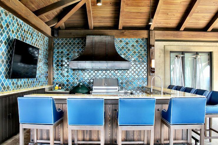 blue moroccan tile backsplash