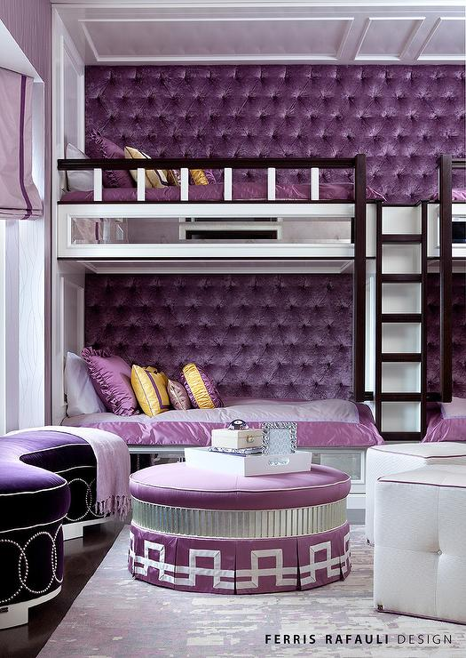 Built In Bunk Beds with Purple Velvet Tufted Walls