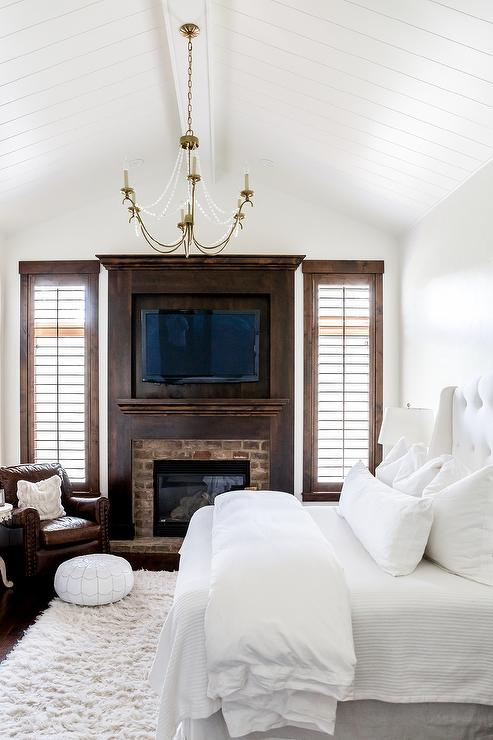 White Bedroom with Dark Stained Wood Trim  Transitional