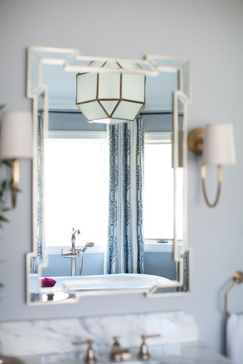 Blue Bathroom with Greek Key Mirror  Transitional  Bathroom