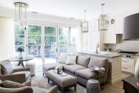 KItchen Family Room with Gray Sectional - Transitional ...