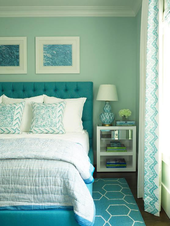 Turquoise Blue Bedroom with Blue Brush Strokes Lamp