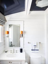 White Kid Bathroom with Navy Blue Glossy Ceiling ...