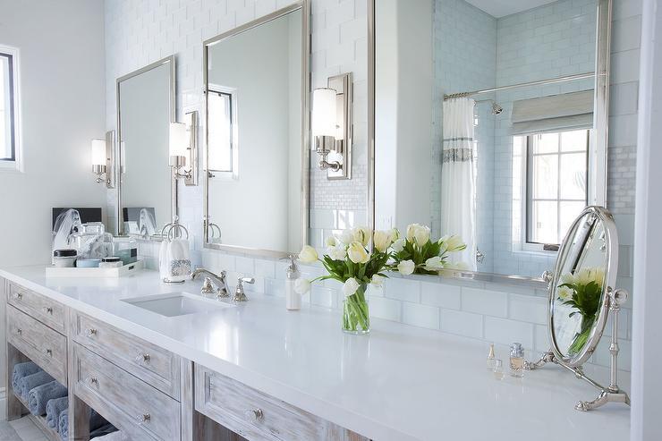 Light Gray Washsatnd with Tall Metal Mirror  Transitional