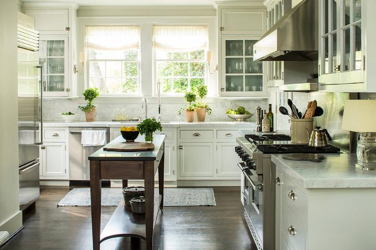 White Cottage Kitchen with Freestanding Dark Stained