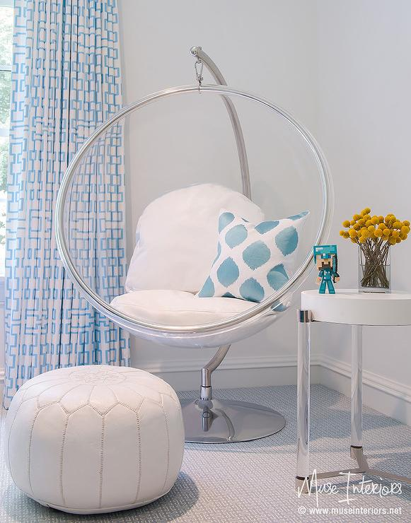 White and Blue Girl Room with Eero Aarnio Hanging Bubble