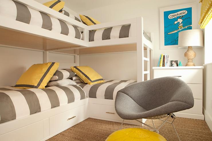 gray and yellow accent chair craigslist chairs for sale l shaped bunk beds with awning stripe duvet covers - transitional boy's room
