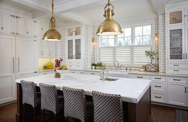 kitchen pendents bridge faucet brown island with brass industrial pendant lights