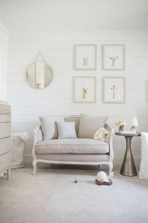 Gray Girl Nursery with Gray French Settee  Transitional  Nursery  Restoration Hardware Right