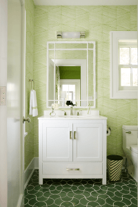 White and Green Bathroom with Green Wavy Tiles ...