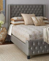 Casablanca Bed in White Tufted Faux Leather I roomservicestore