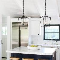 L Shaped Kitchen with Shiplap Island - Transitional - Kitchen