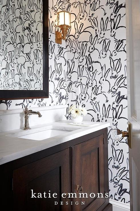 Contemporary Bathroom with Yellow and Black Scalamandre
