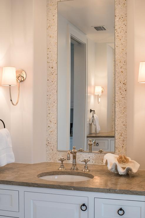 White and Cream Cottage Bathroom with Cream Mosaic Tiles