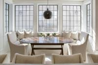 Monogrammed Slipcovered Chairs - Transitional - dining room