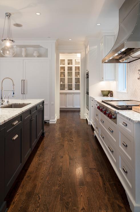 White and Blue Kitchen with Marble Herringbone Backsplash  Transitional  Kitchen