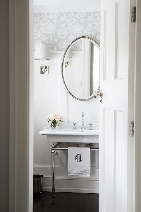 White and Gray Powder Room with 2 Leg Washstand  Transitional  Bathroom