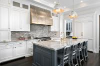 Dark Gray Kitchen Cabinets with Brass Pulls - Transitional ...