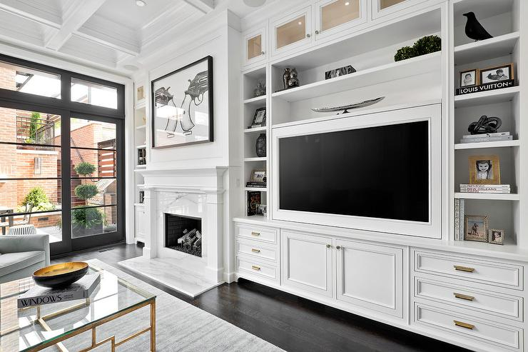 Living Room with Built In TV Cabinets