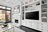 Living Room with Built In TV Cabinets - Transitional ...