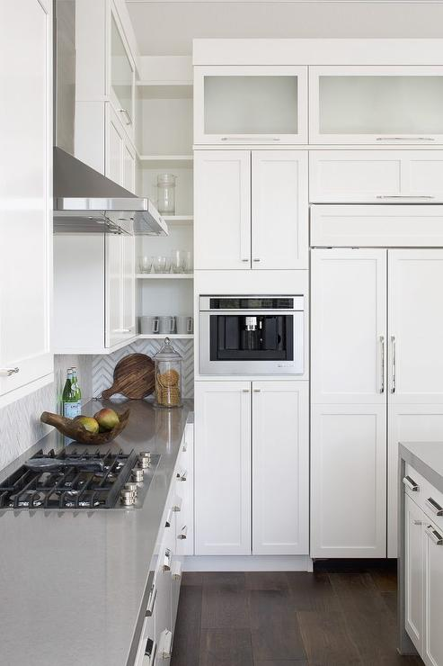 wall mounted kitchen shelves floor tile ideas built in coffee machine next to refrigerator ...