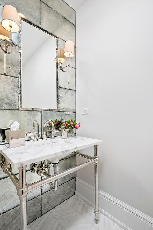 Arch Bath Vanity Nook with Antiqued Subway Tiles  Transitional  Bathroom