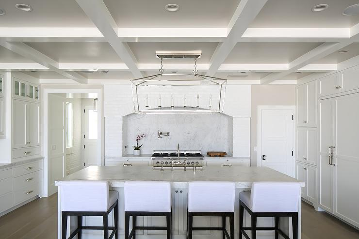 Reclaimed White Brick Arched Cooking Alcove  Cottage  Kitchen  Benjamin Moore Decorators White