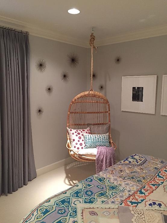 hanging chair in room chairs on casters girl with corner rattan transitional s