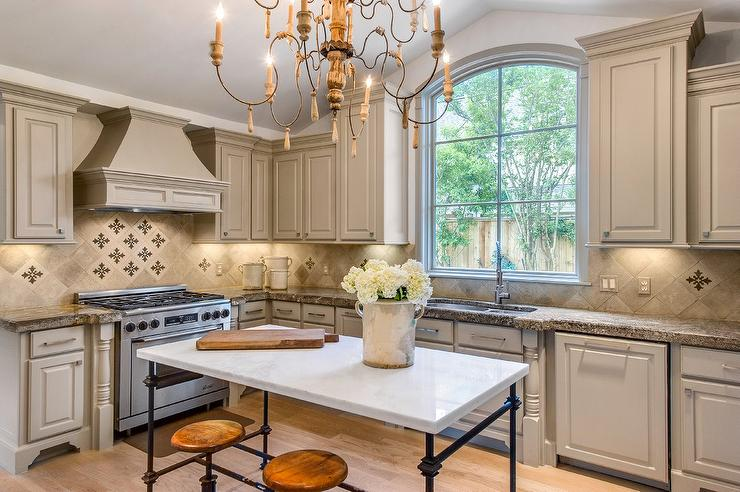 Light Gray French Kitchen with Marble French Island