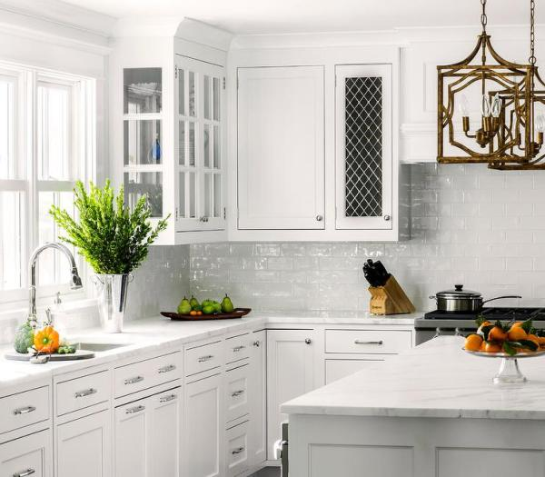 white kitchen cabinets with subway tile backsplash White Kitchen with White Glazed Subway Backsplash Tiles