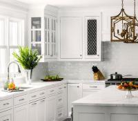 White Kitchen with White Glazed Subway Backsplash Tiles ...