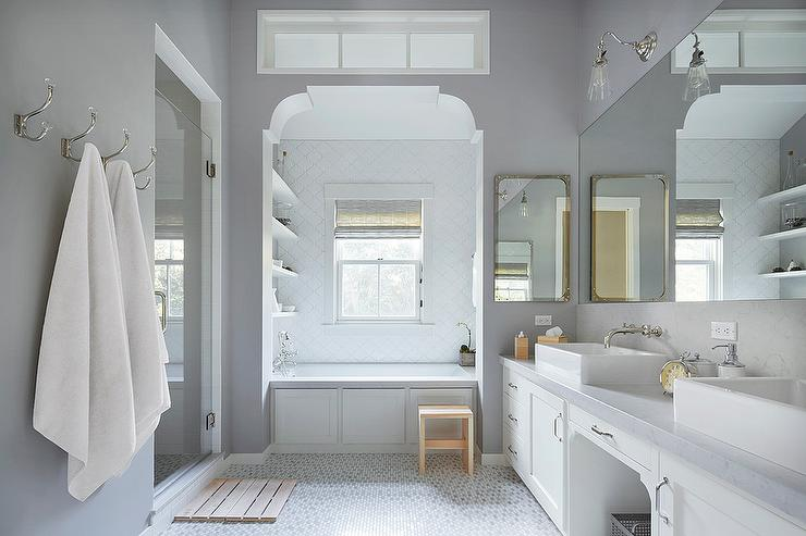 Bathtub Alcove with White Arabesque Tiles  Transitional  Bathroom  Benjamin Moore Smoke Embers