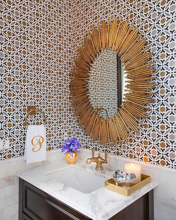 Gold Powder Room Wallpaper with Light Brown Washstand