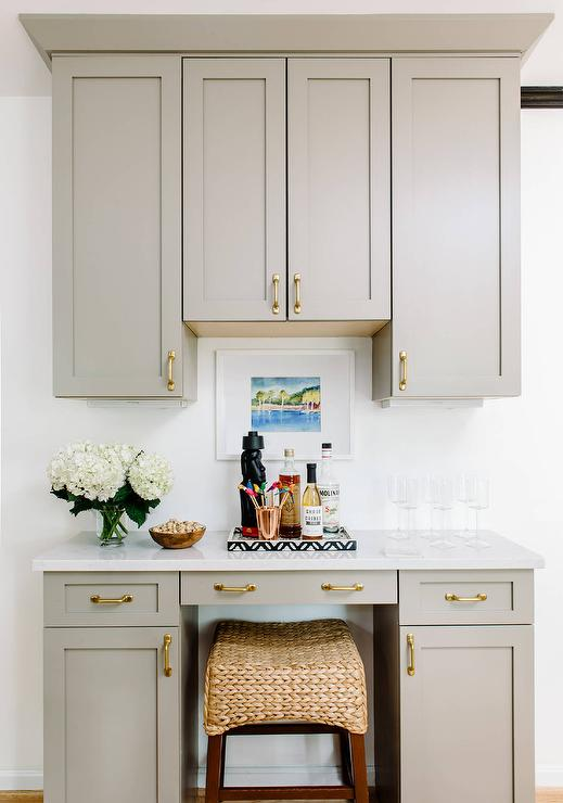 kitchen desk redoing cabinets gray with seagrass stool transitional