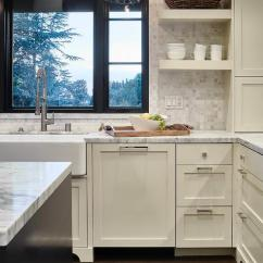 Kitchen Accesories Pass Through Window Ivory Shaker Cabinets With White Marble Grid Tile ...
