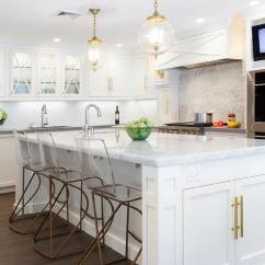 White Kitchen Island With Seating Remodle Tv Niche Over Double Ovens - Transitional