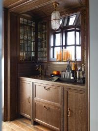 Wet Bar with Shelves on Antique Mirror Backsplash ...