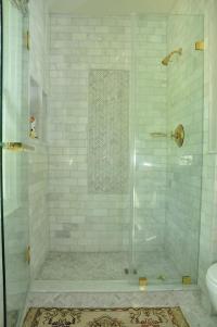 Marble Herringbone Shower Floor Tiles - Transitional ...