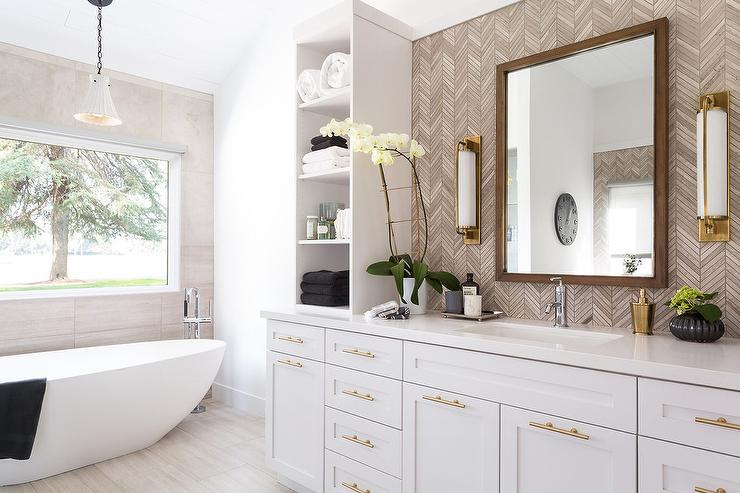 kitchen window treatments above sink ideas gray and gold bathroom with taupe herringbone tiles ...