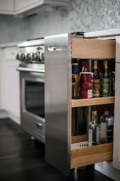 oak kitchen cabinet butcher block cart spice rack design ideas