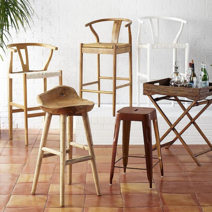 kitchen cabinets overstock beautiful natural bowen wishbone barstool - world market