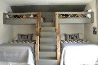 Gray Loft Beds with Gray Built In Staircase - Cottage ...
